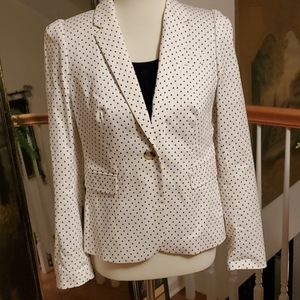 J. Crew white blazer with black triangles